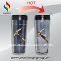 Marca cooperación para regalos empresariales! Cambia de color taza de plástica regalo corporativo para negocio