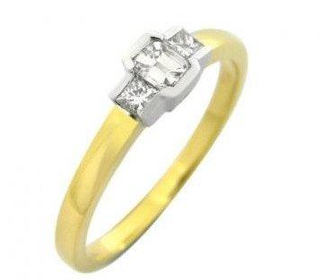 Jade 3-stone emerald and princess cut diamond ring