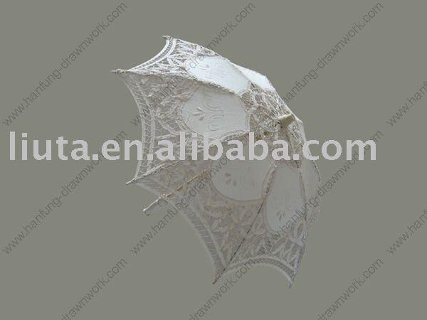 White lace parasol,cotton parasol,white