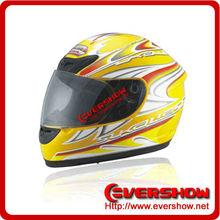 Yellow dirt bike motorcycle full face helmet