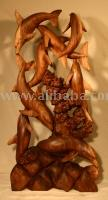 Dolphins-Wood-Carved Statue