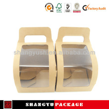 Food packaging box, craft paper cake box with PVC window