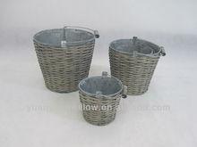 Garden willow iron flower baskets with handle