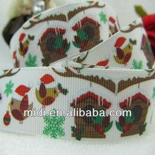 """Factory Supplier custom design 7/8"""" 100% polyester Christmas Lovely Birds grosgrain printed ribbon"""