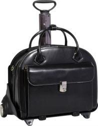 "Leather Detachable-Wheeled Women's 15.4"" Laptop Case"
