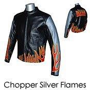 Chopper Metal Flames Leather Biker Motorcycle Jacket