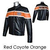 Red Coyote Orange Racing Leather Motorcycle Jacket