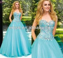 LOT-067 A-line Sweetheart Floor Length Rhinestone Beaded 2012 Aqua Prom Dress