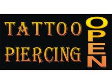 Bn709 Tattoo Piercing Body Art Skeleton Permanent Gangster Stapling Banner Sign