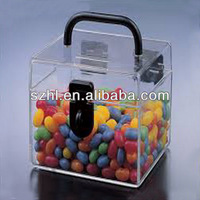Clear acrylic cube storage hingle boxes with handle
