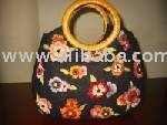 Suede Hand Carry Large Tote Bag With Rattan Handle