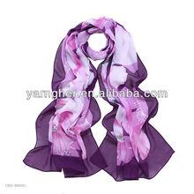 purple love lotus chiffon long scarf in stock