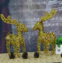 angel arts christmas decoration standing metal gold deer
