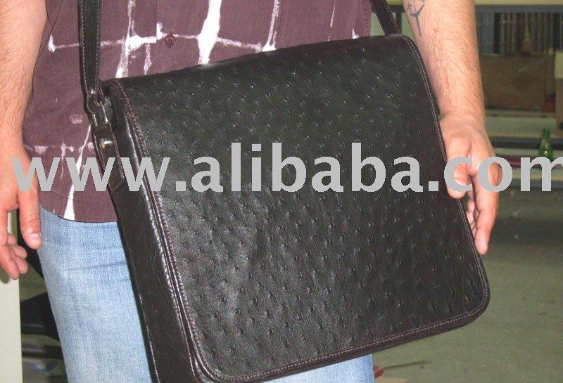Ostrich Leather Messenger Bag