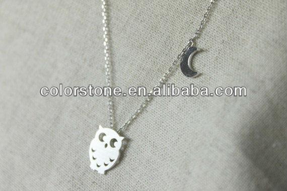 البومة قلادة مع القمر، أزياء بيع قلادة، قلادة فضية معدنية