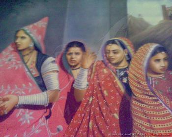 Rural Rajasthani Women, India. (Handpainted Oil Painting)