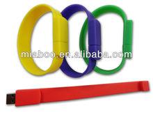 Colorful wrist strap usb pen drive bracelet, silicone rubber usb wrist watch strap