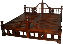 Solid Wooden Carved Bed