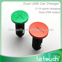unique Dual USB 9v 2a car charger for iphone/ipad/htc/samsuang