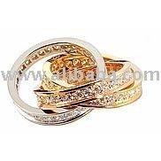 18 Karat Yellow, White And Rose Gold Ring-Trias
