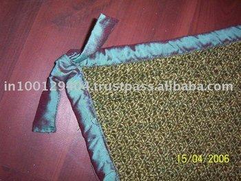 Spun silk blanket with dupion trim