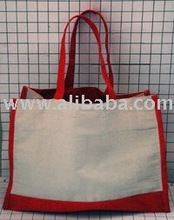 Organic Reusable Canvas Shopping Tote / Bag With Red Canvas Trim