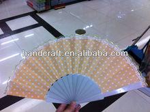 plastic fan with green dot ,glittler edge for advertising