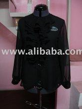 Black ruffled chiffon blouse