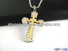 Stainless steel two tone Pave Set Diamond Cross Pendant