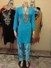 Salwar Kameez with block print dupatta