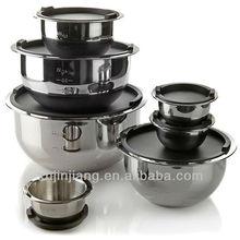 JJs-sb293 durable stainless steel metal wide edge fruit bowl Set with plastic lid