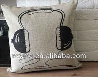 wholesale fashion pillow case music earphone print cushion cover