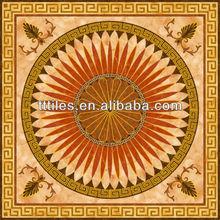 Oriental style Porcelain InkJet Printing red marble Polished Golden 120X120cm carpet tile