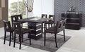 sqaure singular de madera mesa de comedor y silla con tapa de cristal esmerilado