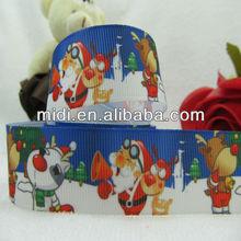 """Factory Ribbon 7/8"""" Christmas snow man and Santa Claus ribbon printed ,ribbon bow,hair accessory,hairbow"""