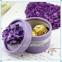 Wedding Favor Chocolate Flower Top Round Tin Boxes