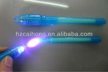 Ch0813-magic invisible ink pen avec LED / UV détecteur d'argent stylo avec invisble stylo CH-0812