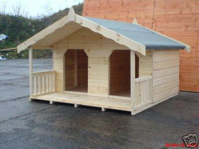 LUXURY DOUBLE DOG KENNEL SUMMERHOUSE FOR 2 LARGE DOGS