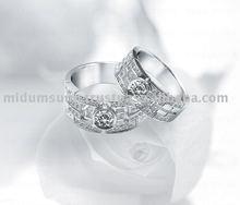14k white gold ladies diamond couple rings