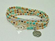 Sand Dollar 5 wrap beaded coastal bracelet,mutil bead bangle