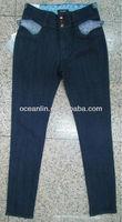 fashion fancy designed jeans skinny pocket decoration ladies jeans