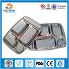 5 grids stainless steel cheap retangular dinner plates, hospital food tray