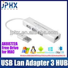 Hot design USB Network Adapter with 3 Port USB HUB