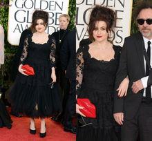 LG-035 2013 70th Gloden Gobles Red Carpet Black Long Sleeve Tea Length Tulle Evening Long Dresses Lace