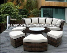 Outdoor Patio Wicker Furniture 7pc All Weather Round Couch Set with Free Patio Cover