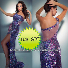 Hot Sale Long One Shoulder Front Split Sequined Prom Dresses Made In China