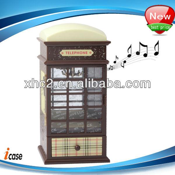 plastik simülasyon telefon kulübesi düzenek yayı Hareketin müzik kutusu ayna ve çekmece mücevher durumda