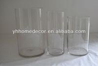 set of 3 clear cylinder glass vase