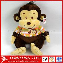Lovely sitting plush stuffed animal monkey toys with clothes