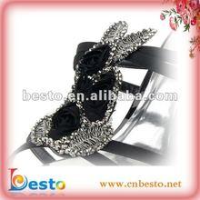 2012 decorative black&sliver rhinestone shoe upper for high heel shoe BSU0010